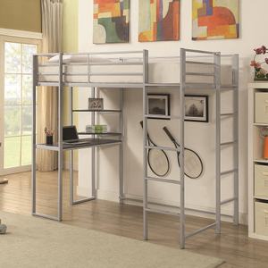 023MLB Twin Metal Loft Bed - Finish: Silver<br><br>Available in Black Finish<br><br>Slat Kit Included<br><br>Dimensions: 79.50