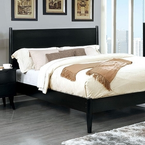 025T Modern Twin Bed in Black - Finish: Black<br><br>Slat Kit Included<br><br>Available in Full Size<br><br>Available in White, Gray & Oak<br><br>Dimensions: 81 1/2