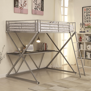 025MLB Full Workstation Loft Bed in Silver - Finish: Silver<br><br>Available in Twin Size<br><br>Slat Kit Included<br><br>Dimensions: 77
