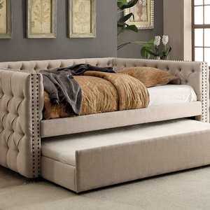027DB Upholstered Twin Daybed - Finish: Ivory<br><br>Trundle Optional<br><br>Available in Full Size or Queen Size Daybed<br><br>Dimensions: 88 1/4