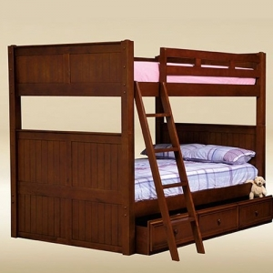 0105 Full/Full Bunk Bed in Dark Pecan - *Underneath Storage Sold Separately*