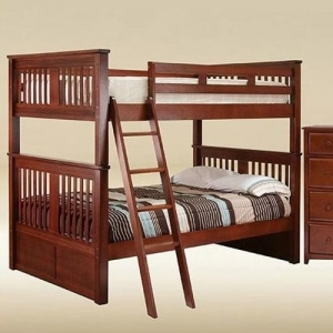 0107 Boston Full over Full Bunk Bed in Dark Pecan - *Chest Sold Separately*