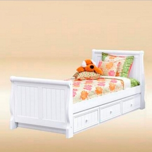 0252 Twin Sleigh Bed in White  - *Underneath Storage Sold Separately*