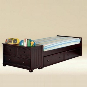 0253 Twin Size Low Panel Bed in Walnut  - *Dresser Sold Separately* 