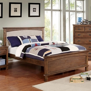 063T Twin Bed w/ Padded Headboard - Finish: Dark Oak<br><br>**Trundle Optional**<br><br>Slat Kit Included<br><br>Available in Full Size<br><br>Dimensions: 80 1/2