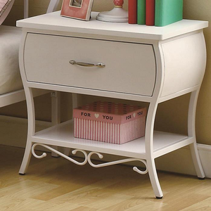 078NS Youth White Night Stand - Case pieces feature wavy curves and is finished with metal scroll designs against white<br><br>Whimsical design with bomb style case pieces<br><br>