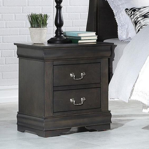 087NS 2 Drawer Nightstand - Finish: Dark Gray<br><br>Available in Black, Cherry, Antique Gray, White & Platinum<br><br>Dimensions: 21