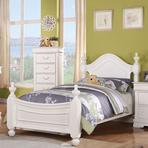 0901FB Full Bed in White Finish - Finish: White<br><br>Box Spring Required<br><br>Dimensions: 85