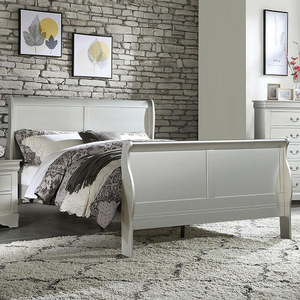 0904FB Twin Sleigh Bed - Finish: Platinum<br><br>Available in Twin Size<br><br>Available in Black, Cherry, Antique Gray & White<br><br>Box Spring Required<br><br>Dimensions:85
