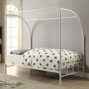 1052TMB Twin Soccer Bed in White - Finish: White<br><br>Available in Black<br><br>Slat Kit Included<br><br>Dimensions: 78