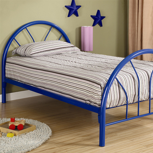 1054TMB Twin Metal Bed in Blue - Finish: Blue<br><br>Available in White & Black<br><br>Slat Kit Included<br><br>Dimensions: 42