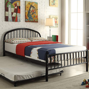1055TMB Twin Metal Bed in Black - Finish: Black<br><br>Available in Full Size<br><br>Available in White, Blue & Silver Finish<br><br>Trundle Sold Separately<br><br>Dimensions: 79