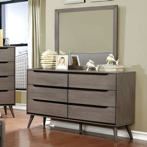 105DR Modern 6 Drawer Dresser in Gray - Finish: Gray<br><br>Available in White, Black or Oak Finish<br><br>Dimensions: