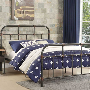 1059TMB Vintage Style Twin Metal Bed  - Finish: Sandy Gray<br><br>Slat Kit Included<br><br>Dimensions: 80