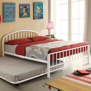 1089FMB Full Metal Bed in White - Finish: White<br><br>Available in Black, Blue & Silver<br><br>Available in Twin Size<br><br>Trundle Sold Separately<br><br>Dimensions: 79