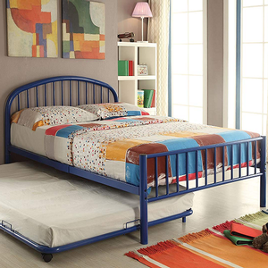 1091FMB Full Metal Bed in Blue  - Finish: Blue<br><br>Available in Black, White & Silver<br><br>Available in Twin Size<br><br>Trundle Sold Separately<br><br>Dimensions: 79
