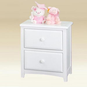 124NS Two Drawer Nightstand in White