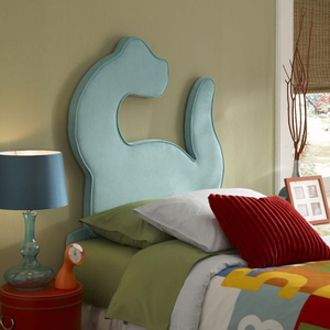 130HB Dinosaur Twin Size Headboard - Fabric: Turquoise<br><br>Headboard Only<br><br>Dimensions: 41 1/4