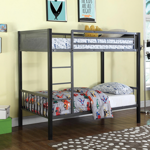 131MBB Twin/Twin Metal Bunk Bed - Finish: Black/Gunmetal<br><br>Available in Twin/Full Bunk Bed<br><br>Twin Loft Add-on Features<br><br>Slat Kits Included<br><br>Dimensions: 78.25