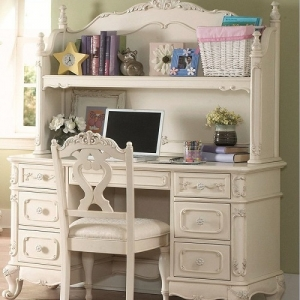 013HC Writing Desk Hutch - Floral motif hardware<br><br>Ecru painted finish<br><br>Traditional carving details <br><br>