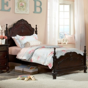 0017TB Esmeralda Twin Bed - Victorian styling incorporates floral motifs hardware and traditional carving details <br><BR>