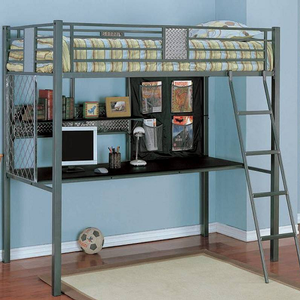 151MLB Twin Study Loft Bunk Bed - Dimensions: 79 3/4