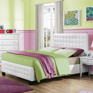 034FB Full Tufted Bed - White bi-cast vinyl is featured on the tufted headboard and tufted fronts