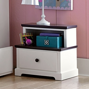 010NS Step Nightstand - Step styled nightstand features dark espresso hardware and case tops.<br><br>