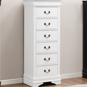 286CH Lingerie Chest - Contemporary Style Dresser in Burnished White Finish with metal glides