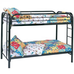 009MBB Twin/Twin Bunk Bed w/ Built-In Ladders - Twin/Twin bunk bed in black with full length guard rails and built in ladder for safety<br><br>