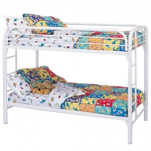 010MBB Twin/Twin Bunk Bed w/ Built-In Ladders - Twin/Twin bunk bed with full length guard rails and built in ladder for safety. Constructed from strong two inch metal tubing<br><br>