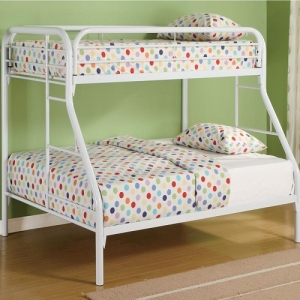 013MBB Twin/Full Bunk Bed w/ Side Ladders - Twin/Full bunk bed constructed from strong two inch metal tubing.<br><br>Full length guard rails and built in ladder for safety. 