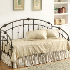 003MDB  Casual Metal Daybed - Black hand-made metal twin daybed<br><br>Link spring required<br><br><b>Dimensions:</b> 