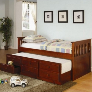 002DB Twin Captain's Bed W/Trundle and Storage Drawers - Classic styled daybed with clean lines<br><br>Trundle included<br><Br>Link spring not required<br><Br>