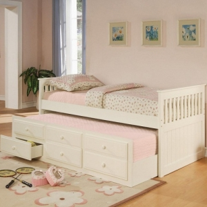 003WDB Twin Captain's Bed W/Trundle and Storage Drawers - Classic style daybed with clean lines<br><br>Pop-up trundle included<br><Br>Link spring not required<br><Br>