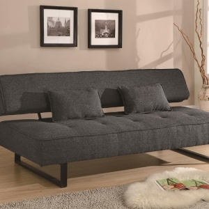 012FN Sofa Bed - Upholstered in dark grey tweed-like fabric<br><br>Two accent pillows included<br><br>U-shaped metal legs<br><Br>Kiln dried hardwood frame<br><Br>Sinuous spring base with foam topped seating