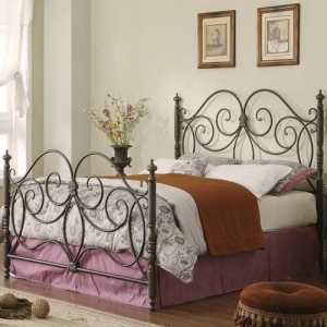 1086FB Full Iron Bed w/ Scroll Details