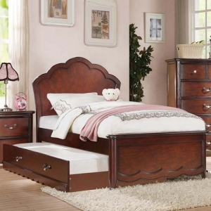0903FB Curvy Full Bed in Cherry - Finish: Cherry Panel<br><Br>Available with Pink Leatherette Headboard<br><br>Available in Twin Size<br><br>Available in White Panel or Light Pink Upholstered<br><br>No Box Spring Required<br><br>Dimensions: 81