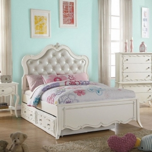 0041TB Amelia Collection Twin Bed  - Finish: Pearl White<br><br>Trundle Sold Separately<br><br>Available in Full Size<br><br>No Box Spring Required<br><br>Dimensions: 87