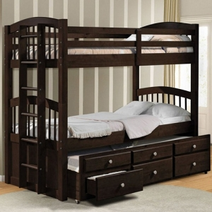 A0011TT Twin over twin bunk bed with trundle and drawer unit