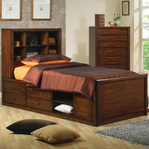 017CB Full Bookcase Bed w/ Underbed Storage - Bookcase Captain's bed has six open shelves<br><br>Underbed storage unit can be used on either bed side<br><Br>Transitional design for child to adult<br><Br>