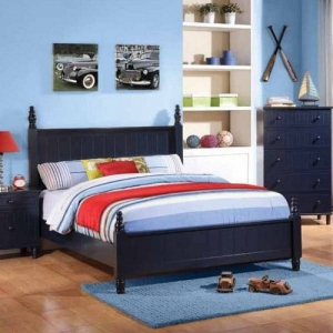 0907T Twin Bed with Cottage Style Design - The cottage style bed has a head and foot board with distinctive paneling detail<<B>Finish:</b> Blue<br><br><b>Dimensions:</b>