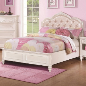 075FB Full Size Bed w/ Diamond Tufted Headboard - *Available in twin*<br><br>The bed has decorative details including an upholstered tufted headboard w/ rhinestone buttons <br><br>