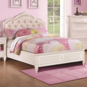 0016TB Esther Diamond Tufted Headboard Twin Bed - The bed has decorative details including an upholstered headboard that is tufted with rhinestone buttons.