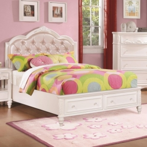 025FB Full Size Storage Bed w/ Diamond Tufted Headboard - *Available in twin* <br><br>Decorative details including an upholstered tufted headboard w/ rhinestone buttons.<br><br>