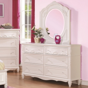 014DR Decorative 6 Drawer Dresser & Mirror Set