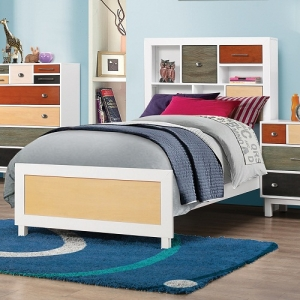 0923TB Twin Multi-Color Bookcase Bed with Three Drawers - *Available in full size*<br><br>The collection comes in white with a medley of colors <br><br>