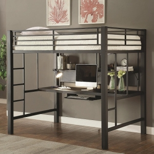 007MLB Workstation Full Loft Bed - This metal workstation full loft bed finished in metal is constructed from strong two inch metal tubing. It has full length guard rails with bilateral built-in ladders. Desk has keyboard tray and shelf for storage.<br><br>