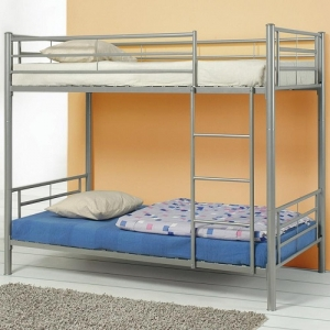 005MBB Metal Twin/Twin Bunk Bed - Twin/Twin bunk bed finished in silver metal. <br><br>Constructed from strong two-inch metal tubing with guard rails and coordinating ladder<br><br>
