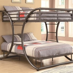 001MBB Full/Full Contemporary Bunk Bed - Full/Full metal bunk bed finished in dark gun metal<br><br>Curved design with two built-in bilateral ladders<br><br>constructed of strong two-inch metal tubing<br><br>
